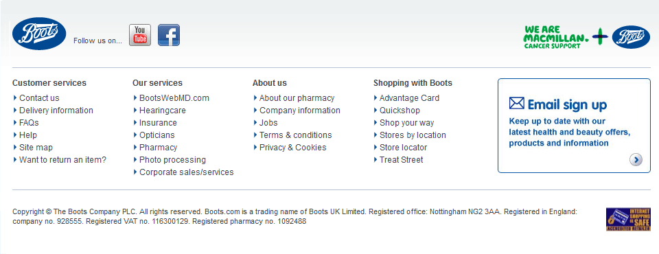 Boots Website Footer